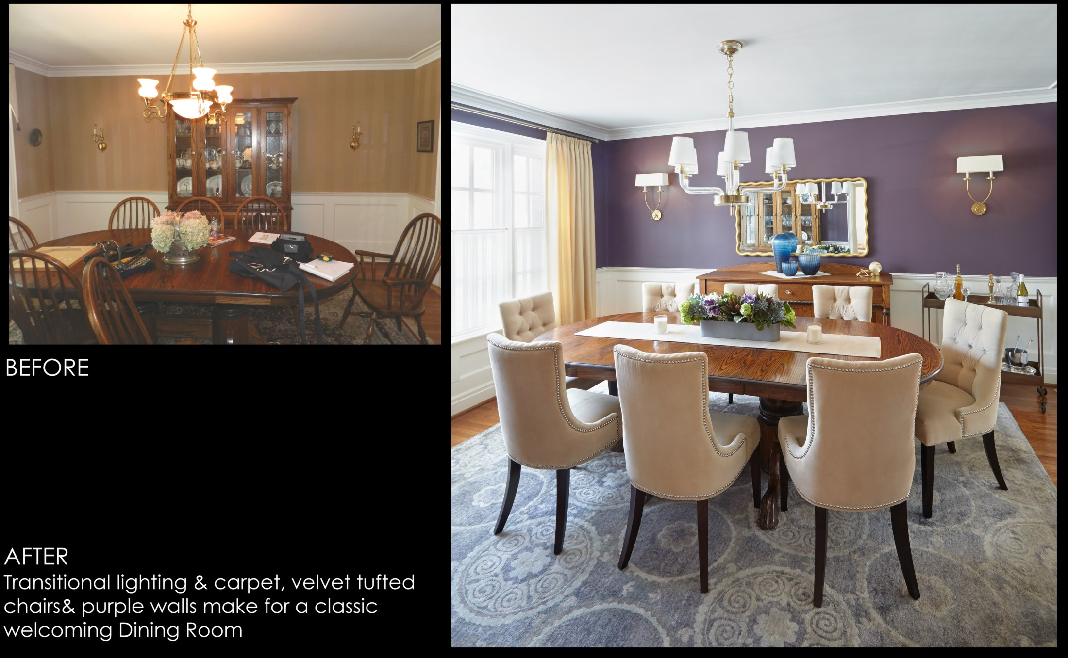 Before After Purple Dining