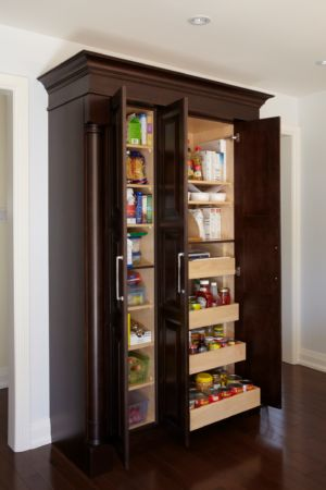 Transitional Kitchen Custom pantry open