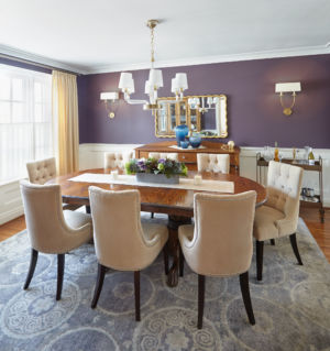 A Classic style purple Dining Room