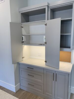 Shaker grey Kitchen- custom cabinet for appliances