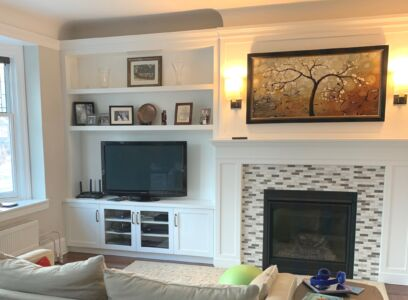 Built In Fireplace Wall Transitional White Refined By Design
