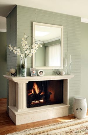 Re-faced 1970's brick fireplace