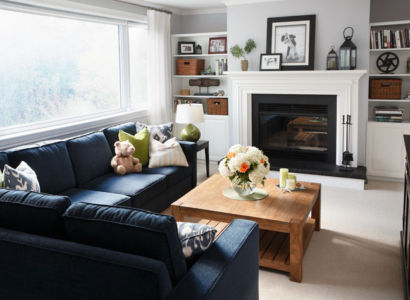 Blue Family room sectional sofa