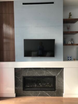 Modern condominium fireplace