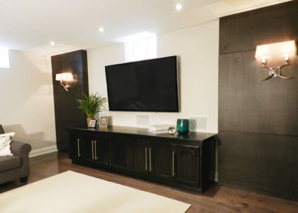 Audio Video Unit with custom wood wall panels